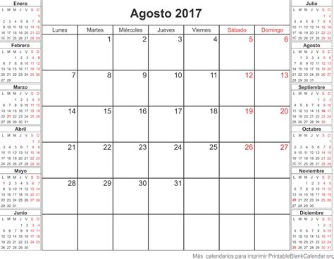 Calendario Para Imprimir 2017 Agosto 2017 Calendario Para Imprimir Calendarios Para