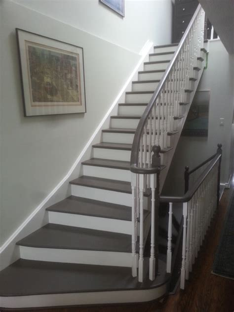 Painting A Banister White by Painted Stairs