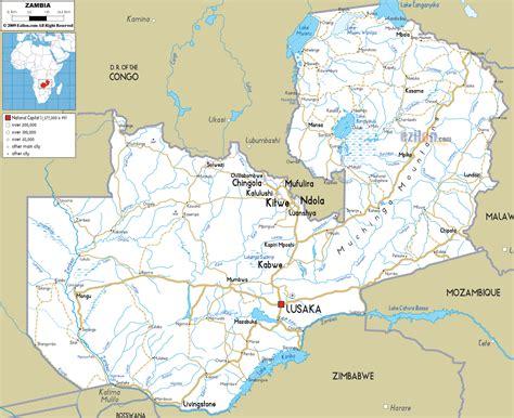 detailed clear large road map  zambia ezilon maps