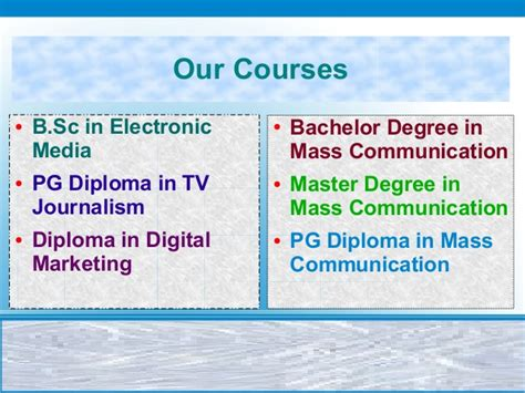 Mba In Journalism And Mass Communication Syllabus by Best College For Mass Communication And Journalism Course