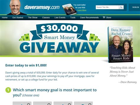 Www Daveramsey Com Giveaway - daveramsey com the smart money giveaway sweepstakes