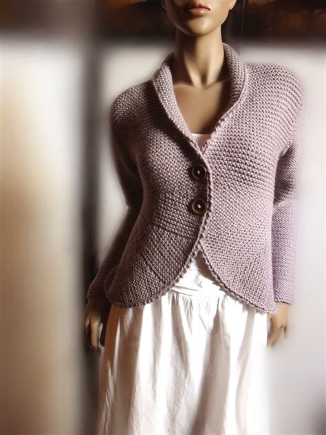 Womens Knit Sweater Jacket Purple Grey Wool Sweater