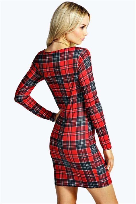 Tartan Dress Ori By Amelia boohoo womens amelia tartan sleeve bodycon