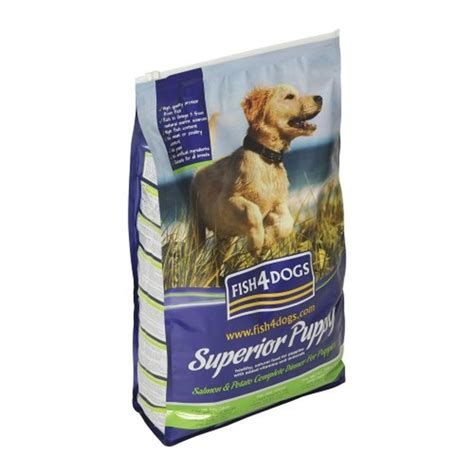 salmon puppy food buy fish4dogs superior puppy food large bite salmon potato 1 5kg