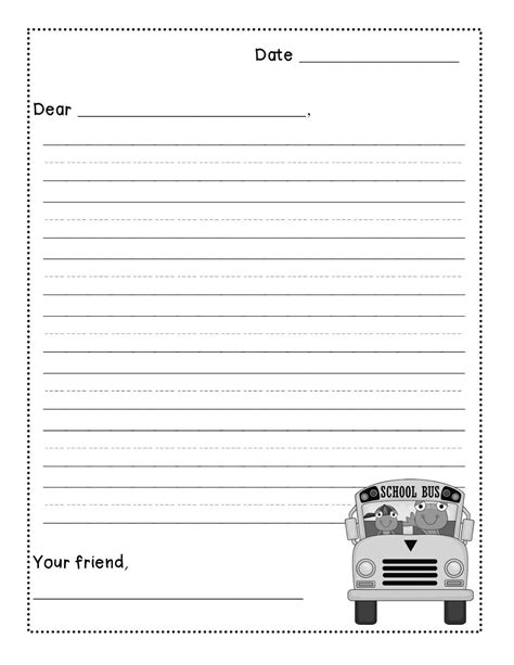 printable writing paper for middle school friendly letter writing freebie levelized templates up