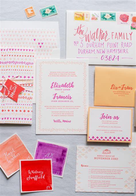 colorful wedding invitations colorful patterned letterpress wedding invitations