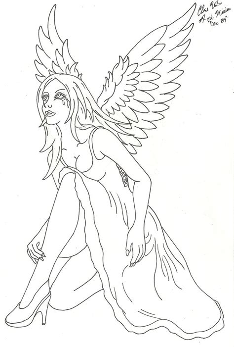 cat tattoo line work crying angel by lucky cat tattoo on deviantart