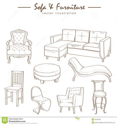 furniture collection sketch drawing vector stock vector illustration of symbol person 40348789