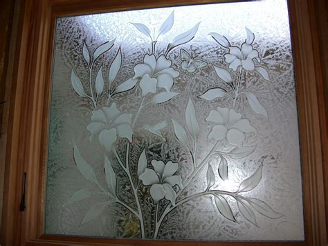 art design on glass hibiscus beauty glass window etched glass tropical style