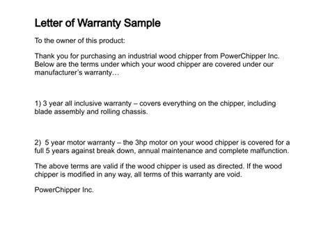 Guarantee Letter Sle For Equipment Letter Of Warranty