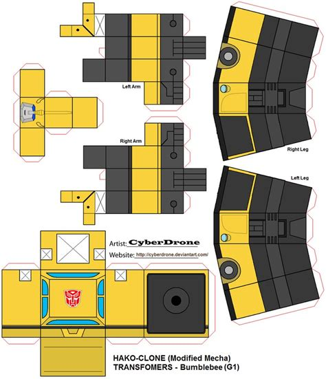 Papercraft Transformers Bumblebee - hako clone bumblebee g1 by cyberdrone on deviantart