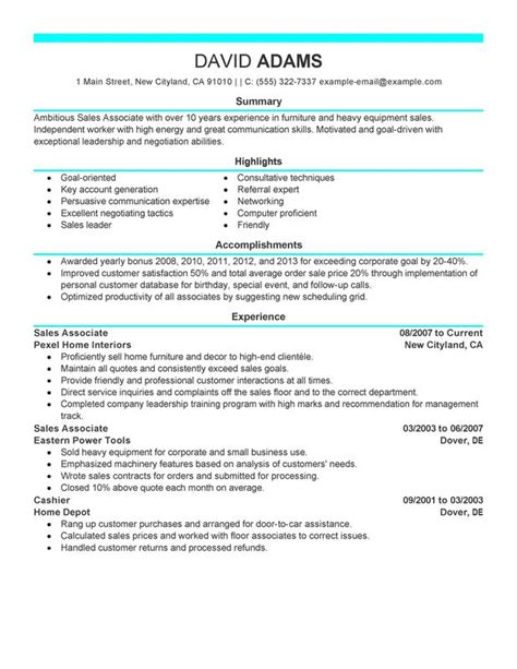 resume sles for sales associate unforgettable sales associate resume exles to stand out