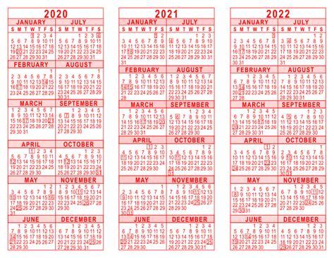 3 Year Calendar 2020 2021 2022 3 Year Calendar