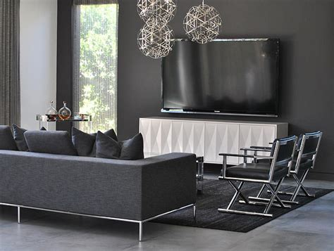 dark grey living room x panel media cabinet with flatscreen tv transitional