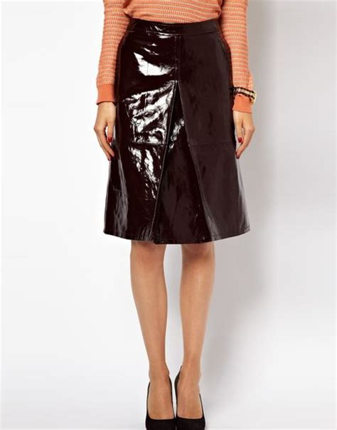 asos a line midi skirt in patent leather in rust lyst