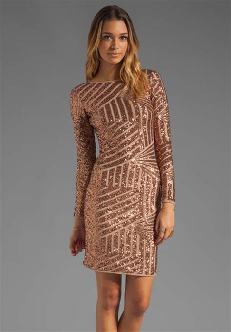 Bcbgmaxazria Sequin Long Sleeve Scoop Back Dress in Brown (rose gold)   Lyst