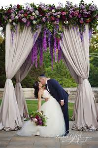 Wedding Arches Toronto Beautiful Canopy Chuppah At Casa Loma Loaded With Hanging Purple Wisteria Garden Roses And