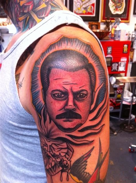 ron swanson tattoo 7 best images on awesome tattoos