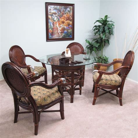 Glass Top Dining Table With 4 Chairs Calama Rattan Wicker Dining 5pc Furniture Set 4 Chairs And Table W Glass Top Ebay