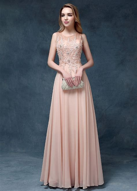 light pink evening gown 2017 chiffon prom dresses lace appliques beaded light
