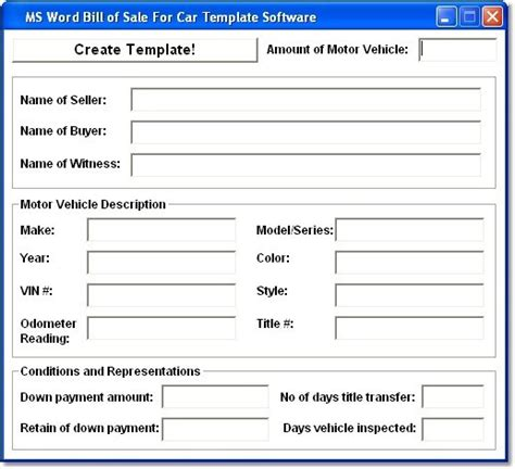 car bill of sale word template ms word bill of sale for car template so shareware version