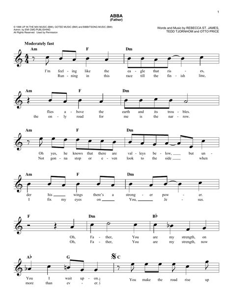 Abba (Father) Sheet Music | Rebecca St. James | Lead Sheet