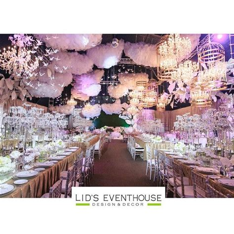followmeto decor inside wedding reception heaven inspired clouds white birds etc