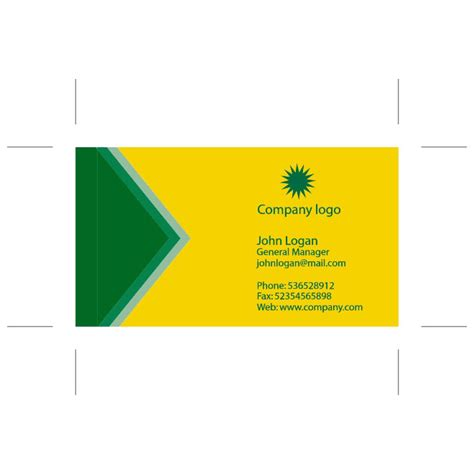 Green Card Template by Yellow Green Business Card Template At Vectorportal
