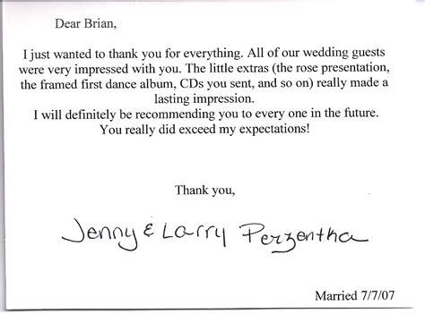 thank you letter after wedding reception wedding thank you card wording for vendors wedding