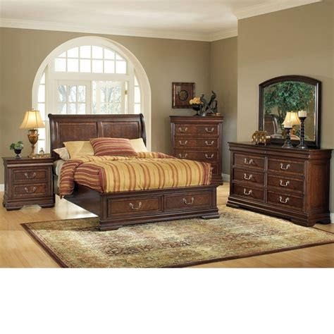 bedroom furniture sets with storage dreamfurniture com hennessy brown cherry bedroom set w