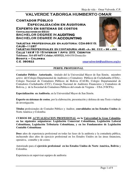 Modelo Curriculum Vitae Director Financiero Hoja De Vida Omar Valverde En Espa 241 Ol E Ingles Colombia