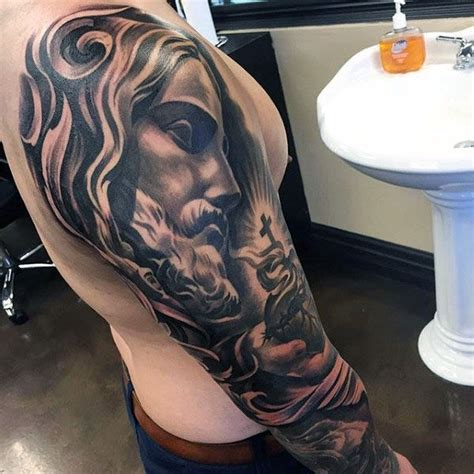 jesus tattoo on man s arm 50 jesus sleeve tattoo designs for men religious ink ideas