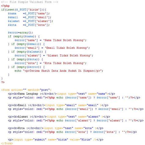 membuat validasi email php membuat validasi form menggunakan php