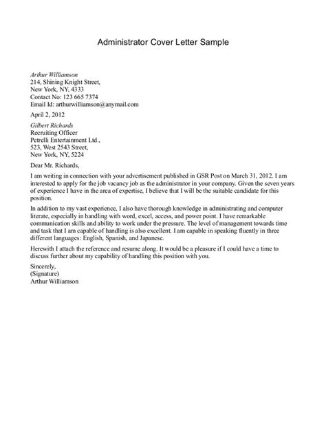 Firm Administrator Cover Letter by Business Administration Cover Letter The Best Letter Sle