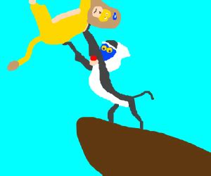 baboon   rock holding  lion  guess drawception