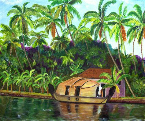Blogs On Home Decor India Backwaters Of Kerala Painting By Aarti Bartake