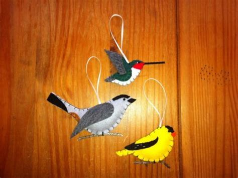 Handmade Bird Ornaments - hummingbird catbird goldfinch trio handmade felt bird