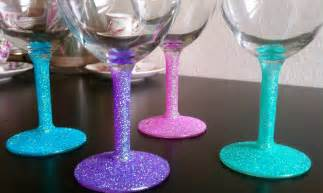 wine glass decorating cupcakes couture diy glitter wine glasses