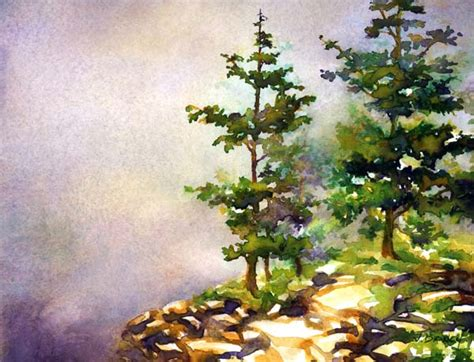 watercolor tutorial pinterest acadia pines painting demonstration by jennifer branch