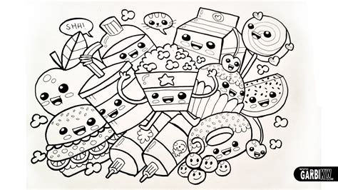 hard coloring pages cute food coloring pages drawing cute food easy and kawaii graffiti by garbi kw