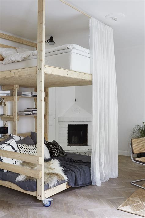 loft beds for studio apartments diy loft bed with lounge space underneath it s on wheels