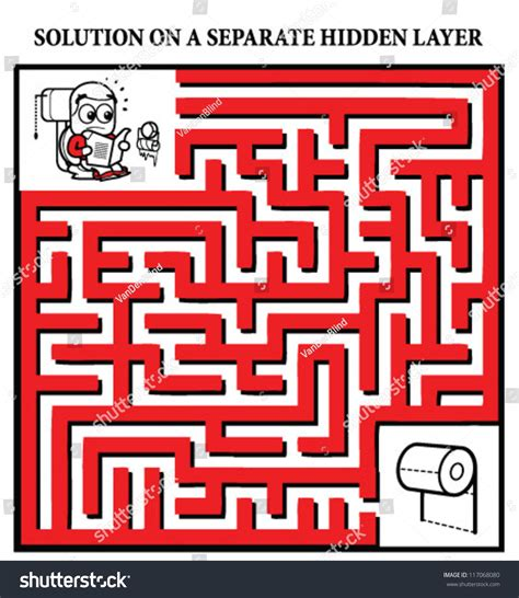 How To Make A Maze On Paper - on toilet running low on stock vector 117068080