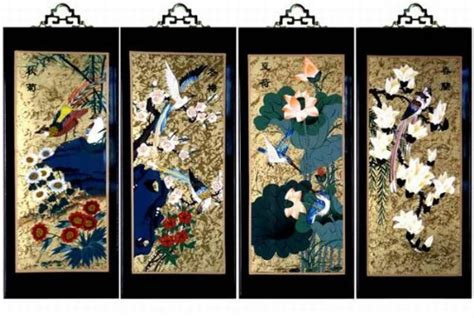 Buy Set Of 4 Oriental Lacquered Painting Wall Art Plaques