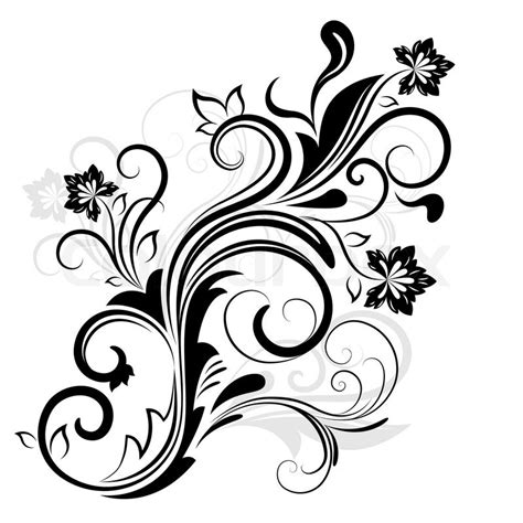 black white design black and white floral design element isolated on white