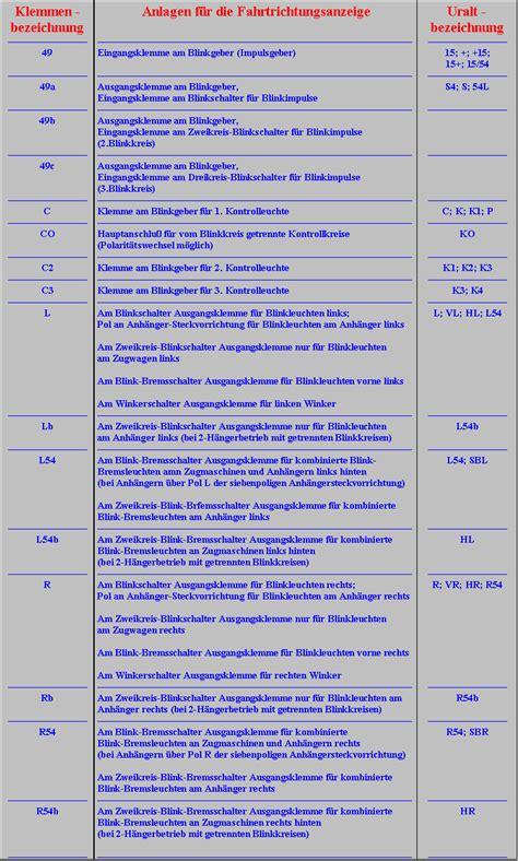 kabelbezeichnungen tabelle blinker und warnblinker