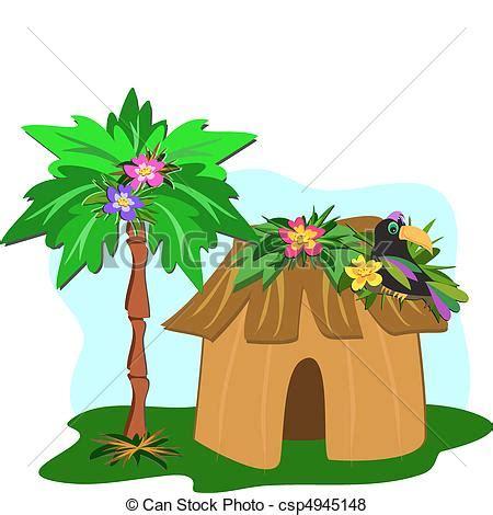 hutte tropicale vector tropische hut palm boompje toucan hier
