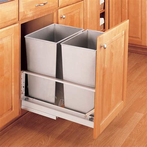 In Cabinet Trash Cans For The Kitchen by Rev A Shelf Double Trash Pullout 32 Quart Stainless Steel