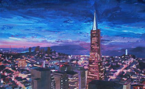 paint nite san francisco transamerica pyramid at san francisco painting by m