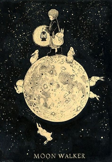 rabbit moon books via illustration moon walker childrens book