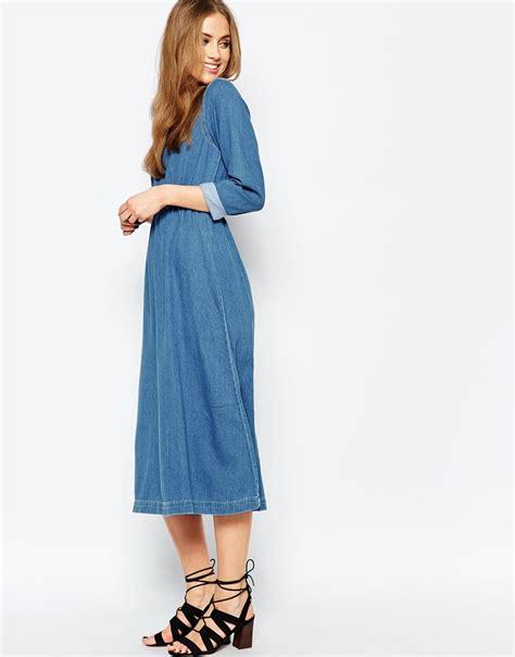 warehouse denim midi dress in blue lyst